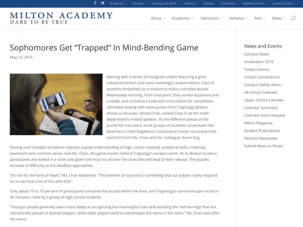 Academic School Boston Escape Game Trapology Boston